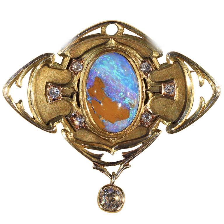 Art & Crafts Boulder Opal Diamond Gold Brooch Pin Pendant