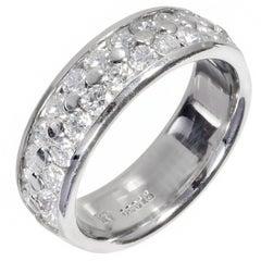 Two Row 1.20 Carat Diamond Platinum Wedding Band
