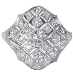 Art Deco Diamond Platinum Dome Filigree Ring