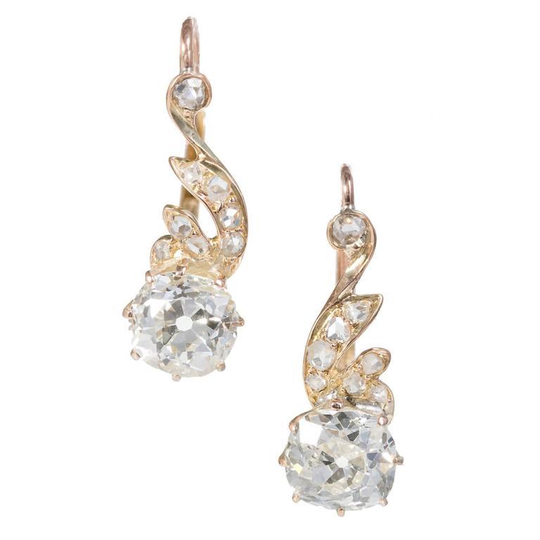 EGL Certified Old Mine Cut Diamond Rose Gold Dangle Earrings