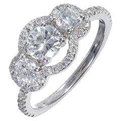EGL Certified .52 Carat Three-Stone Diamond Halo Gold Engagement Ring