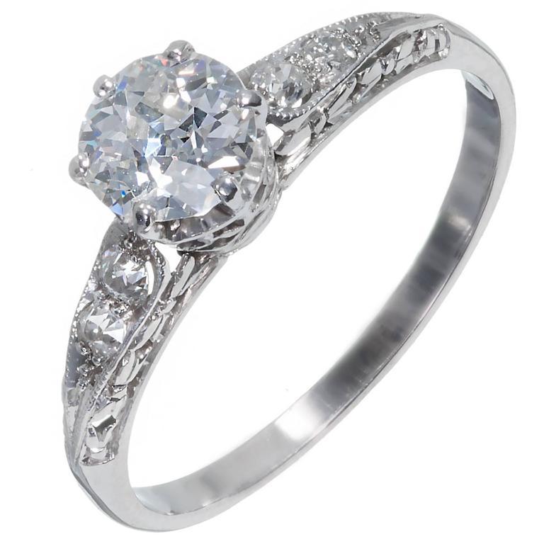 GIA Certified .70 Carat Diamond Filigree Platinum Engagement Ring