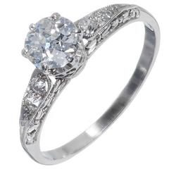 GIA Certified .70 Carat Diamond Filigree Platinum Engagement Ring