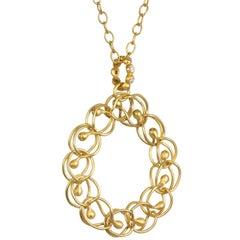 Faye Kim 22K Gold Diamond Woven Circle Pendant and Chain