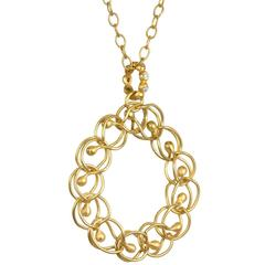 Faye Kim Diamonds Yellow Gold Woven Circle Pendant