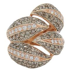 Gorgeous Brown Diamond Rose Gold Fashion Ring