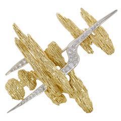Hammerman Brothers Diamond Yellow Gold Pave Platinum Brooch