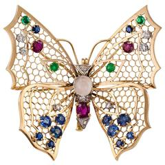 Butterfly Gold Gemstone Brooch