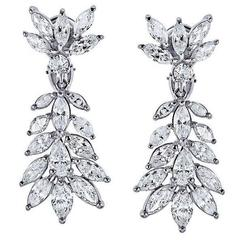 7.75 Carat Pear Shape Marquise Diamond Platinum Earrings
