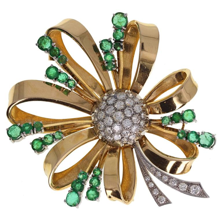 1940s Emerald Diamond Gold Spray Brooch