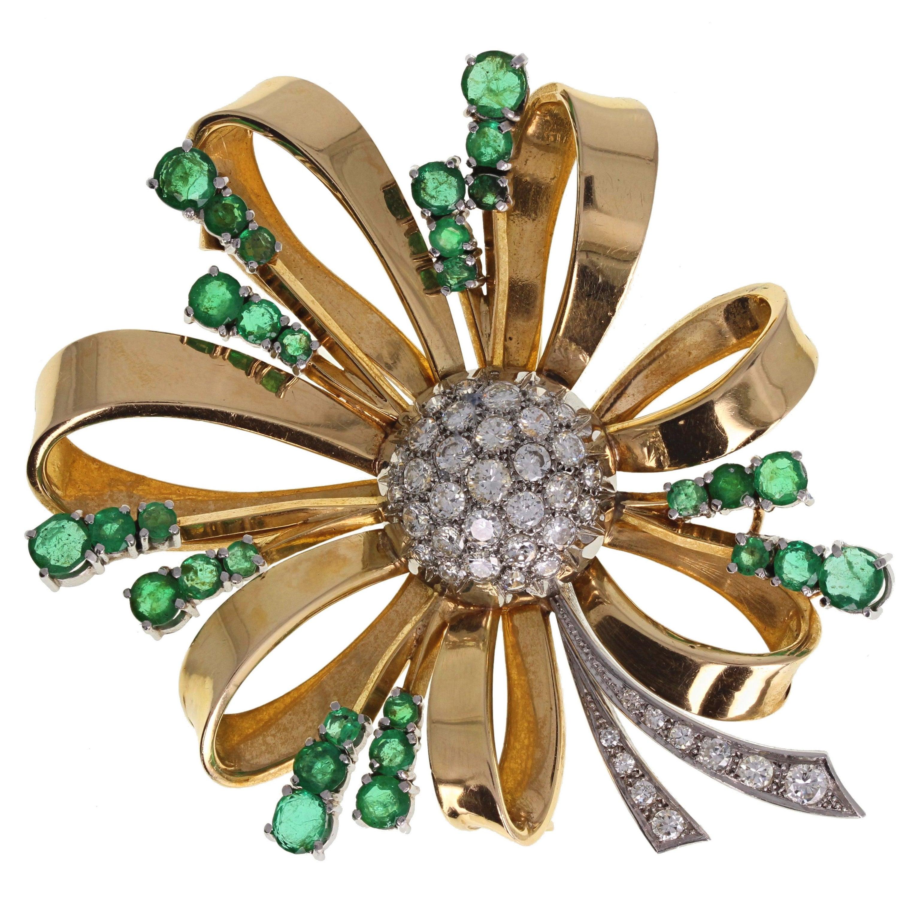 1940s Emerald Diamond Gold Spray Brooch