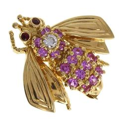 Tiffany & Co. Pink Sapphire Diamond Gold Bee Brooch
