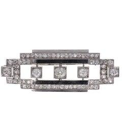 1920s Art Deco Diamond Platinum Geometric Brooch