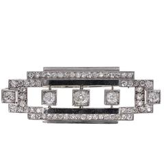1920s Art Deco Diamond Platinum Geometric Brooch