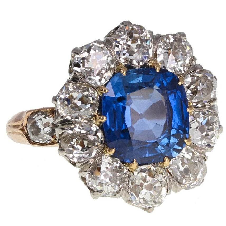 Antique Natural No Heat Ceylon Sapphire Diamond Engagement Cluster Ring