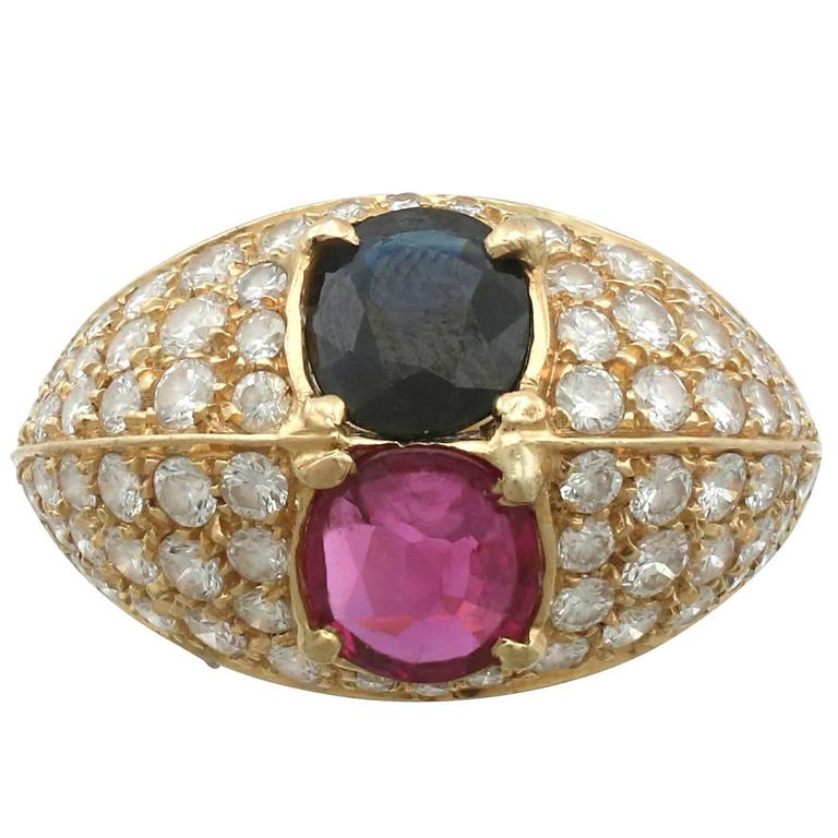 1.35 Carat Ruby and 1.28 Carat Sapphire 1.75 Carat Diamond and Yellow Gold Ring
