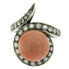 Pink Coral Diamond Gold Ring
