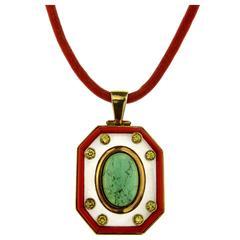 Tourmaline Quartz Coral Diamond Gold Pendant