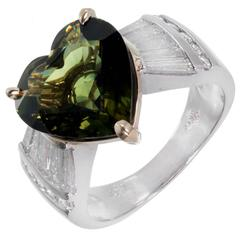 4.98 Carat Green Sapphire Heart Shape Diamond Platinum Gold Engagement Ring
