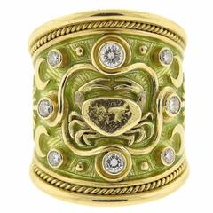 Elizabeth Gage Diamond Gold Cancer Crab Zodiac Ring