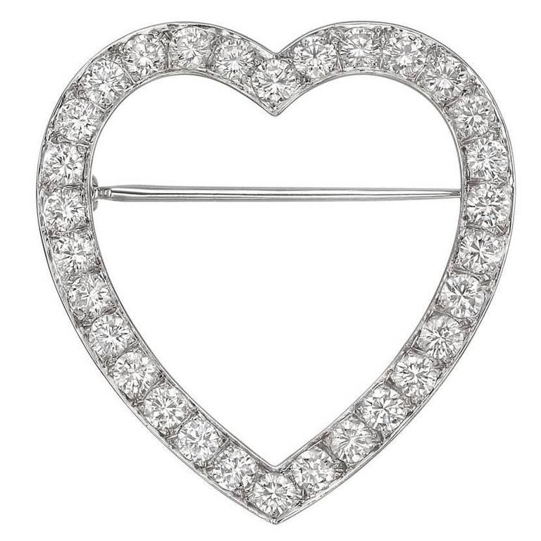 Tiffany & Co. Diamond Platinum  Heart Pin
