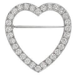 Tiffany & Co. Diamond Platinum  Heart Pin