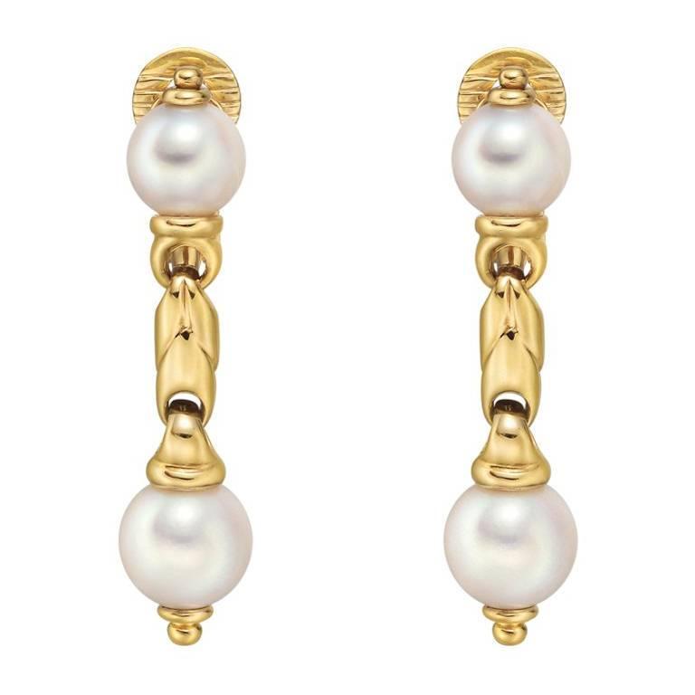 Bulgari Yellow Gold Pearl Drop Earrings For