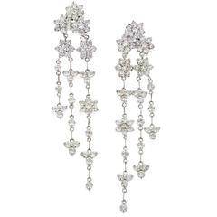 Stambolian Diamond Gold Cluster Chandelier Earrings