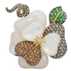 Yellow Gold Mother-of-Pearl Diamond and Semi Precious Stone Ring/Pendant