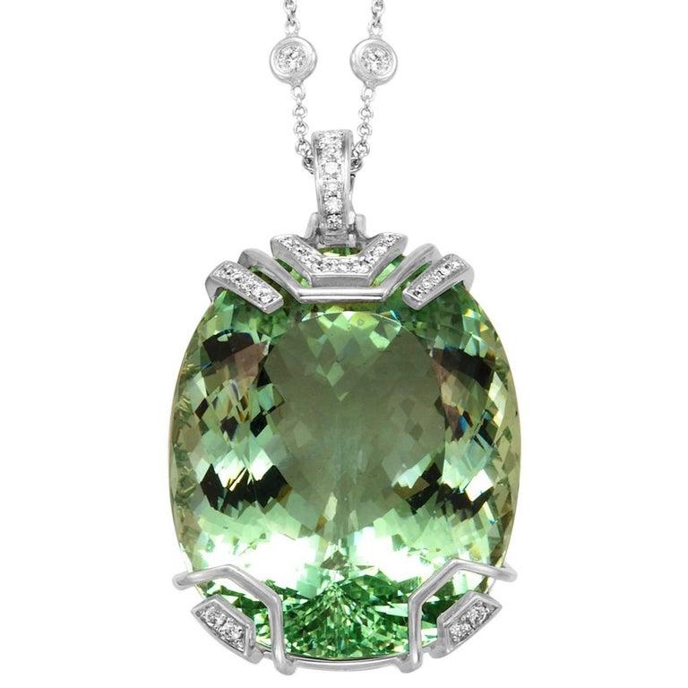 Frederic Sage 76.83 Carat Green Beryl Diamond Pendant with Diamond Chain