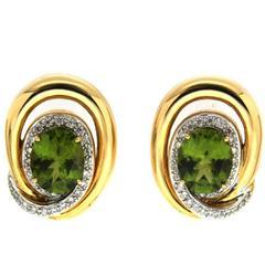 Oval Peridot Diamond Swirl Rim yellow gold Earrings