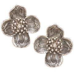 Tiffany & Co. Silver Dogwood Earrings
