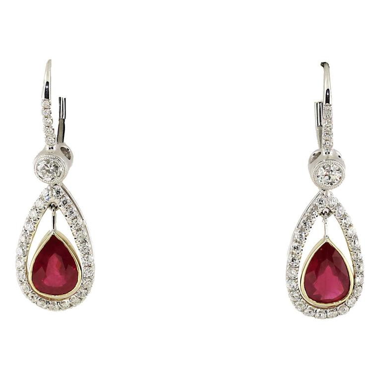 2.86 Carat Burma Pear Shape Ruby Diamond Gold Platinum Drop Earrings