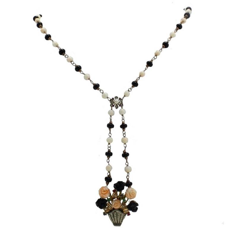 Coral Onyx Emerald Ruby Sapphire Diamond Silver Gold Necklace