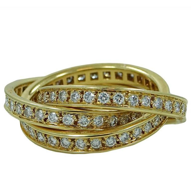 cartier diamond yellow gold trinity ring for sale at 1stdibs. Black Bedroom Furniture Sets. Home Design Ideas