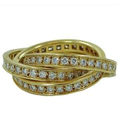 Cartier Diamond Yellow Gold Trinity Ring