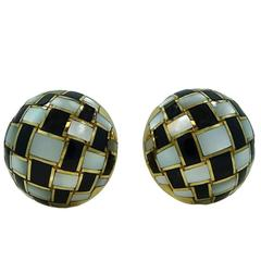 Tiffany & Co. Black Onyx Mother-of-Pearl Yellow Gold Button Earrings
