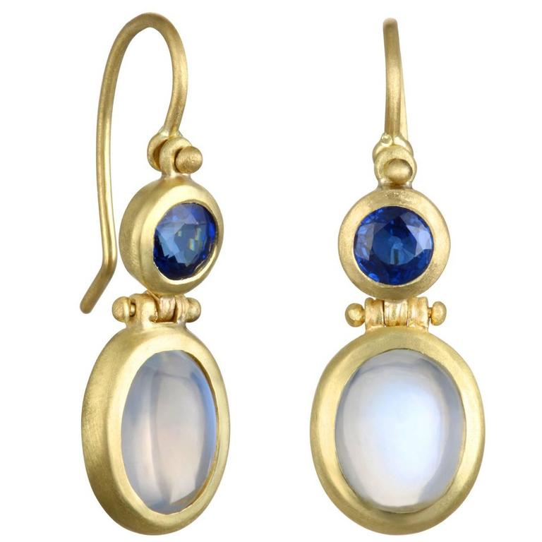 Faye Kim Moonstone Blue Sapphire Gold Hinge Earrings