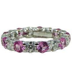 Roberto Coin Cento Pink Sapphire Diamond White Gold Eternity Band Ring