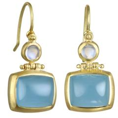Faye Kim Milky Aquamarine Round Moonstone Gold Double Hinge Earrings