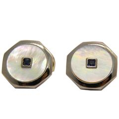 Square Sapphire White Mother-of-Pearl  T-Bar Back White Gold Cufflinks
