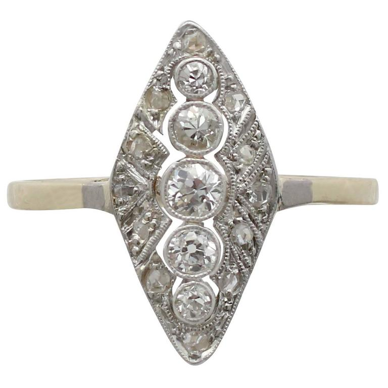 1930s Diamond Yellow Gold Marquise Ring