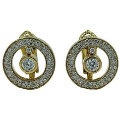 Roberto Coin Cento O Collection Pave Diamond Yellow Gold Earrings