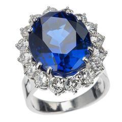 Tanzanite and Diamond Halo Ring in Platinum