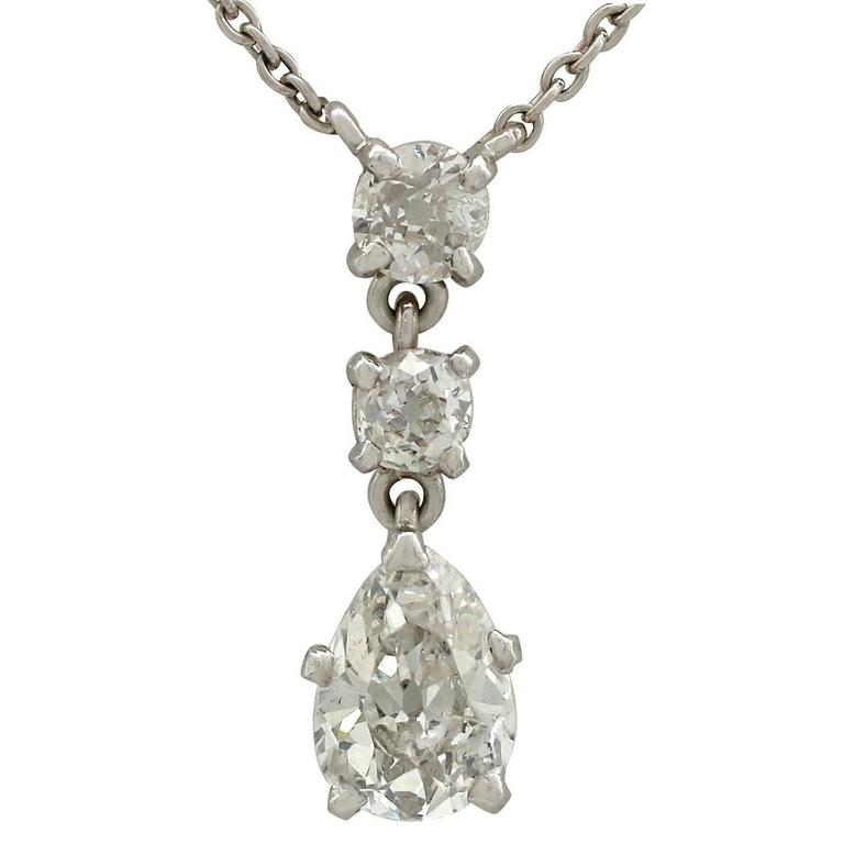 1930s 1.42 Carat Diamond White Gold Drop Necklace