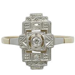 1920s Art Deco Diamond Yellow Gold and White Gold Set Ring