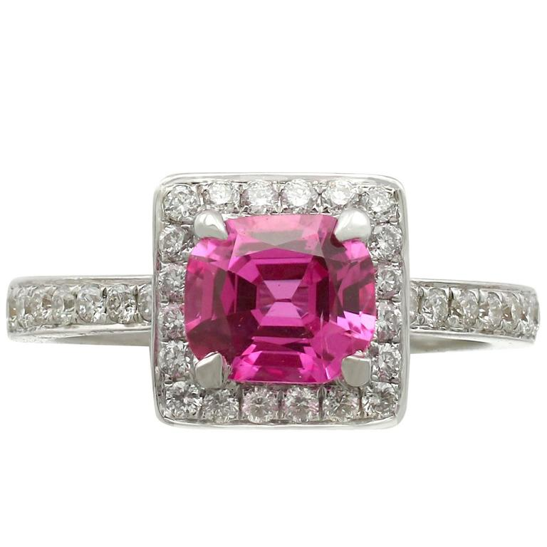 1990s 1.27 Carat Pink Sapphire and Diamond White Gold Cocktail Ring 1