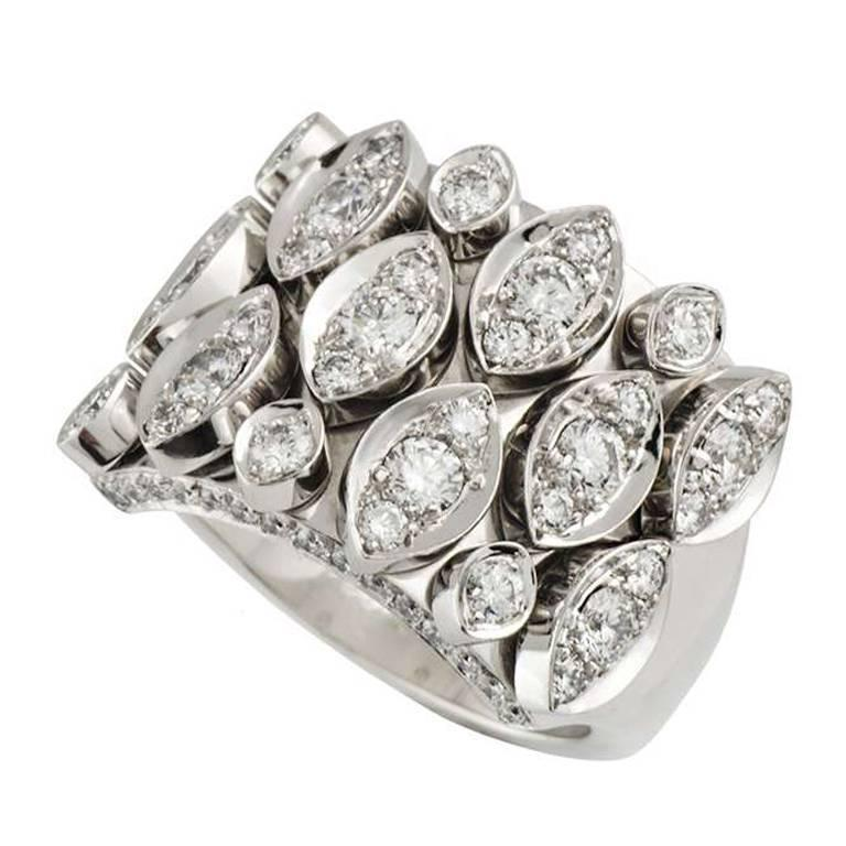 Cartier Articulated Diamond White Gold Ring