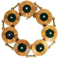 Cartier Jade Diamond Yellow Gold Retro Bracelet