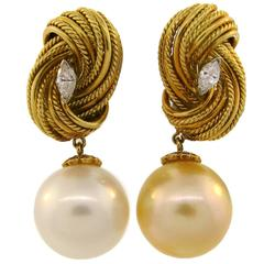 1980s Tiffany & Co. South Sea Pearl Diamond Yellow Gold Earrings